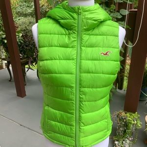 Hollister Lime Hooded Puffer Vest - Size M EUC